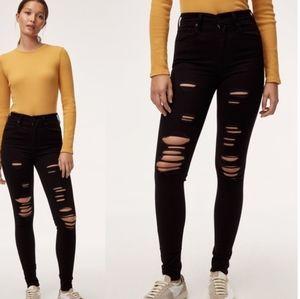 Levis Mile High Rise Black Distressed Skinny Jeans